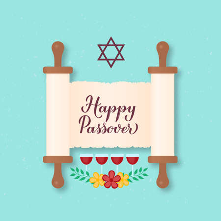 Happy Passover calligraphy hand lettering on old scroll paper. Jewish holiday Easter. Easy to edit vector template for greeting card, typography poster, banner, invitation, postcard, flyer, sticker.