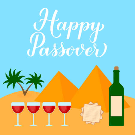 Happy Passover calligraphy hand lettering, desert landscape, four wine glasses and matzo. Vector template for Jewish holiday typography poster, greeting card, banner, invitation, postcard, flyer.