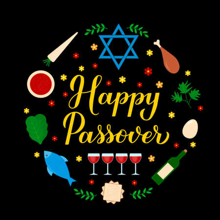 Happy Passover calligraphy hand lettering with traditional symbols. Jewish holiday circle label. Vector template for typography poster, greeting card, banner, invitation, postcard, flyer, etc.