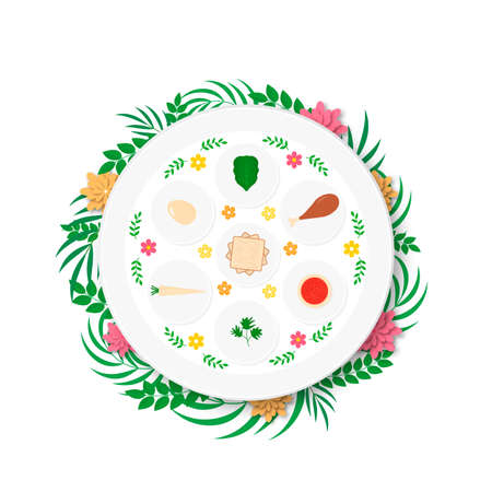 Passover ceder plate with traditional food with flowers and leaves. Jewish holiday Easter. Easy to edit vector template for poster, greeting card, banner, invitation, postcard, flyer, sticker, etc. Illustration