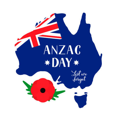 Anzac day lettering on map on Australia. Red poppy flower symbol of Remembrance day. Lest we forget. Vector template for greeting card, typography poster, banner, flyer, sticker, etc.