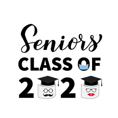 Seniors Class of 2020 lettering with toilet paper, mask and graduation cap. Coronavirus COVID-19 quarantine. Funny graduation typography poster. Vector template for greeting card, banner, t-shirt. Ilustración de vector