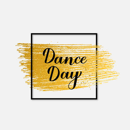 International Dance Day calligraphy hand lettering. Easy to edit vector template for typography poster, design, banner, party invitation, postcard, sticker, flyer, etc. Vector Illustratie