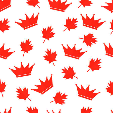 Red maple leaves and crown Canadian seamless pattern. Victoria day in Canada background. Vector template for Canadian holiday party invitation, greeting card, flyer, fabric, textile, etc.