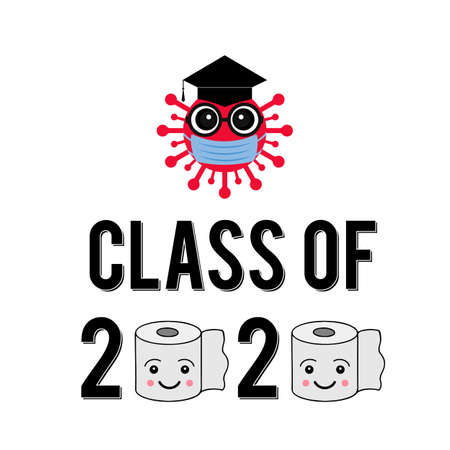 Class of 2020 funny typography poster with cartoon coronavirus, protective mask, graduation cap and toilet paper. COVID-19 quarantine concept. Vector template for greeting card, banner, sticker.