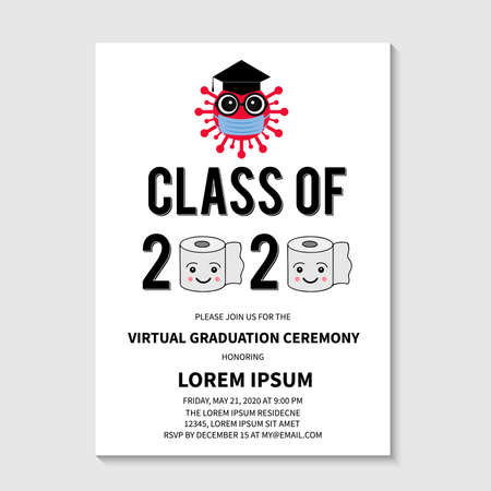 Virtual Graduation Ceremony Class of 2020 vector invitation. Cartoon virus wearing protective mask and  hat with tassel and toilet paper. Grad party announcement. Coronavirus COVID-19 Quarantine.