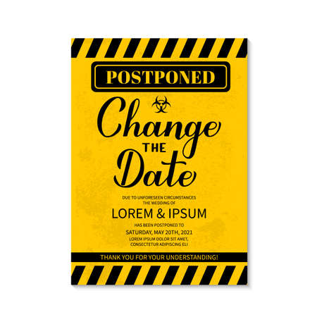 Change The Date card. Postponed wedding due to quarantine coronavirus COVID-19. Black and yellow grunge postponement of ceremony announcement vector template.