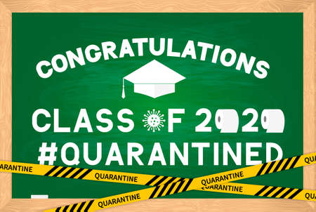Class of 2020 funny poster with toilet paper and graduation cap on green chalkboard with wooden frame. Coronavirus COVID-19 quarantine. Vector template for graduation greeting card, banner, sticker. Ilustración de vector
