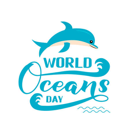 World Oceans Day calligraphy hand lettering with cute cartoon dolphin isolated on white. Environment conservation concept. Vector template for typography poster, banner, flyer, sticker, logo, etc.