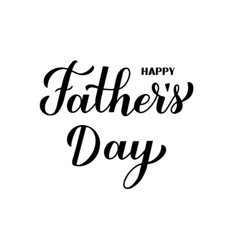 Happy Father s Day calligraphy hand lettering isolated on white. Father day celebration typography poster. Easy to edit vector template for banner, greeting card, flyer, postcard, party invitation