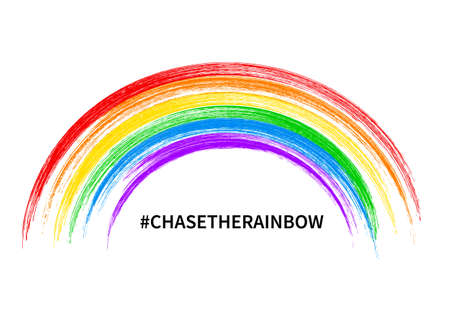 Chase the rainbow inspirational quote vector illustration. Brush stroke Rainbow isolated on white. Hope for victory over the coronavirus COVID-19 pandemic. Template for banner, poster, flyer, etc Vetores