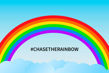 Chase the rainbow vector illustration. Rainbow in blue sky and clouds. Hope for victory over the coronavirus COVID-19 pandemic. Template for banner, poster, flyer, etc Illustration