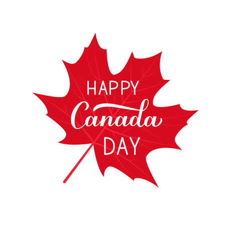 Happy Canada Day calligraphy hand written on red maple leaf. Vector template for Canadian holiday banner, typography poster, party invitation, greeting card, flyer, sticker.