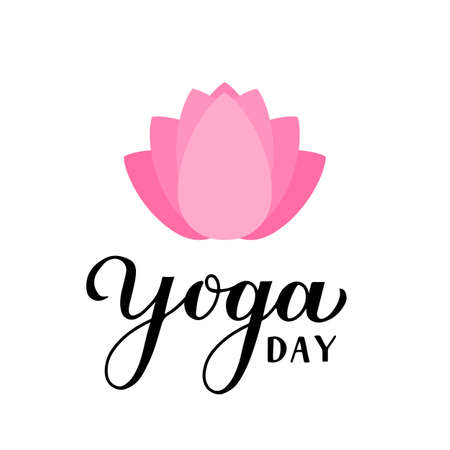 International Yoga Day calligraphy hand lettering isolated on white. Easy to edit vector template for  design, banner, typography poster, flyer, sticker, postcard, t-shirt, etc.