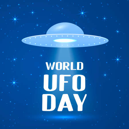 World UFO day lettering with flying saucer or spaceship in space background. Easy to edit vector template for typography poster, banner, flyer, sticker, etc