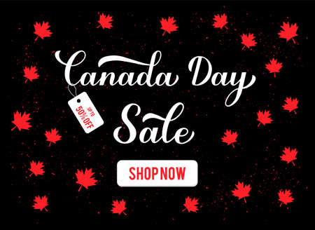 Canada day Sale banner. Calligraphy hand lettering with red maple leaves. Holiday promotion discount offer. Vector template for typography poster, flyer, etc.