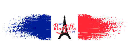 Happy Bastille Day Calligraphy lettering with grunge tricolor flag of France and Eiffel tower. French national holiday celebration. Vector template for typography poster, banner, greeting card, flyer. 일러스트