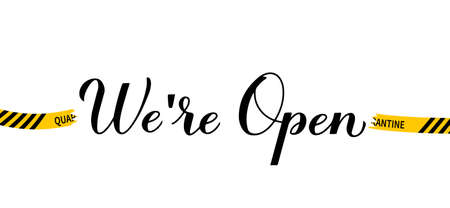We are open calligraphy hand lettering isolated on white. Reopening of shops, services, restaurants, barbershops, hair salons after quarantine. Welcome sign for customers. Vector banner. Vector Illustratie