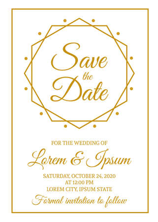 Save the date card template. Gold wedding invitation. Minimalist geometric design party invite. Vector illustration. Stock Illustratie
