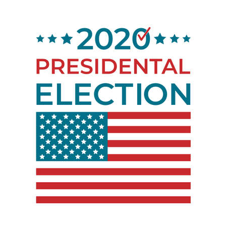 Presidential election 2020 United States of America. USA Patriotic typography poster with white red blue stars and stripes. Ilustração Vetorial