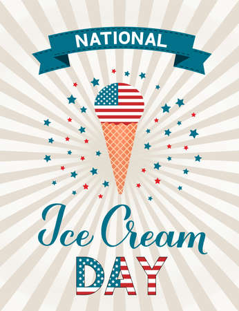 USA National Ice Cream Day retro patriotic poster with lettering and ice cream cone. Funny American holiday celebrate third Sunday of july. Ilustração