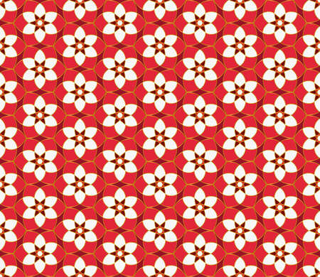Geometric mosaic background Red and gold kaleidoscope. Oriental ornament. Christmas seamless lace pattern. Vettoriali