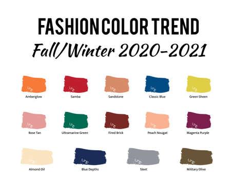 Fashion Color Trend Autumn Winter 2020 - 2021. Trendy colors palette guide.
