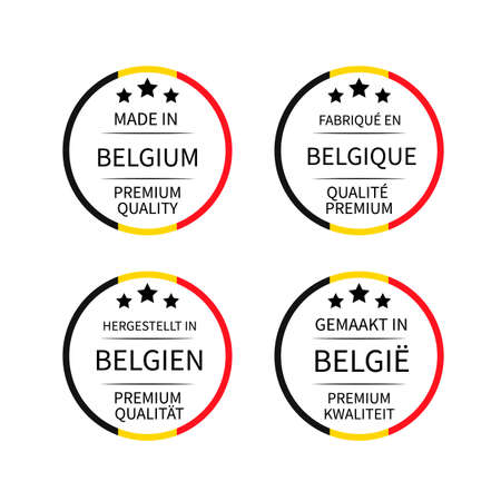 Made in Belgium labels (in English, French, Dutch and German languages).  イラスト・ベクター素材