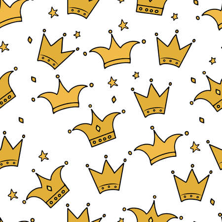 Hand drawn gold crown and stars seamless pattern. Little princess, luxury and glamor theme vector background. Easy to edit template for fabric, textile, wrapping paper, etc.