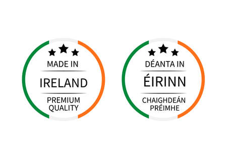 Made in Ireland labels in English and Irish languages. Quality mark vector icon. Perfect for design, tags, badges, stickers, emblem, product packaging, etc.