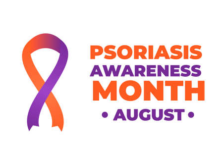 Psoriasis Awareness Month typography poster with lettering and Orange and Lavender ribbon. Medical banner informing about skin problems and annual checkup. Vector illustration