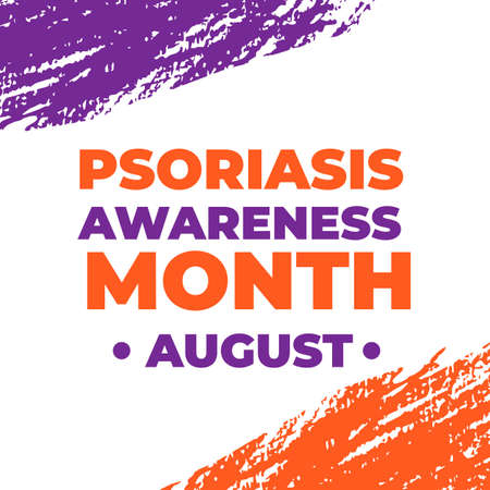 Psoriasis Awareness Month typography poster with lettering and Orange and Lavender Brush stroke. Medical banner informing about dermatological problems and annual checkup. Vector illustration Illustration