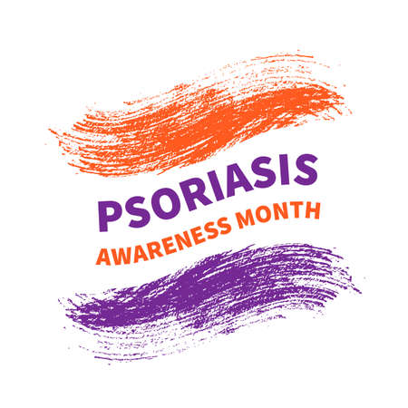 Psoriasis Awareness Month typography poster with lettering and Orange and Lavender Brush stroke. Medical banner informing about dermatological problems and annual checkup. Vector illustration. Illustration