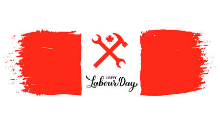 Happy Labor Day calligraphy hand lettering with Canadian flag. Holiday in Canada typography poster. Vector template for banner, flyer, greeting card,  design, postcard, party invitation, t-shirt.