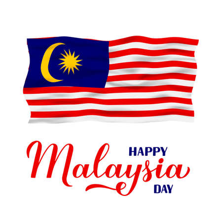 Happy Malaysia Day calligraphy hand lettering with flag isolated on white. National holiday celebrated on September 16. Vector template for typography poster, banner, greeting card, flyer, etc.