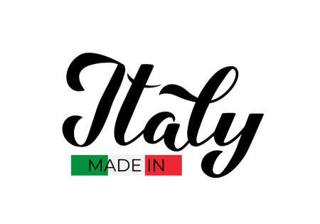Made in Italy calligraphy hand lettering lapel. Quality mark vector icon.