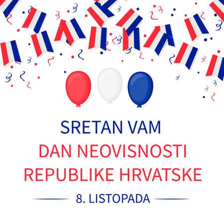 Happy Croatia Independence Day on October 8 inscription in Croatian language. Vector template for typography poster, banner, flyer, greeting card, etc. Ilustrace