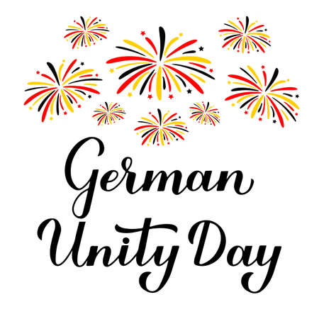 German Unity Day calligraphy hand lettering. National holiday in Germany celebration on October 3. Vector template for banner, typography poster, flyer, greeting card, etc.