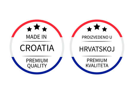 Made in Croatia round labels in English and in Croatian languages.