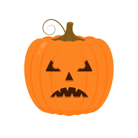 Halloween Pumpkin with scary face icon isolated on white. Cute cartoon Jack-o -Lantern. Halloween party decorations.