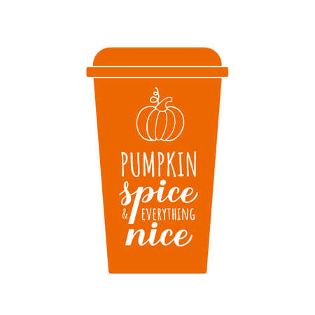 Pumpkin Spice and Everything Nice calligraphy hand lettering on coffee cup. Inspirational autumn quote typography poster. Vector template for fall decorations, banner, card, flyer, t-shirt, etc.