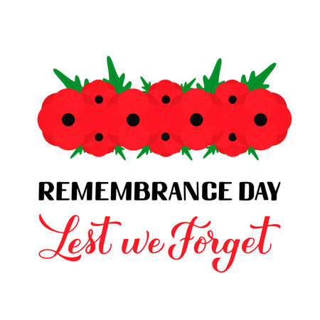 Remembrance Day Lest we forget calligraphy hand lettering with Red poppy flower isolated on white. Holiday on November 11. Vettoriali