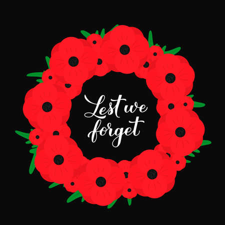 Lest we forget calligraphy hand lettering. Wreath of red poppy flowers symbol of Remembrance day. Holiday on November 11.
