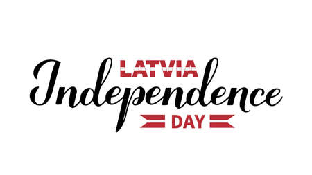Latvia Independence Day calligraphy hand lettering. Latvian holiday celebrate on November 18. Easy to edit vector template for typography poster banner, flyer, sticker, greeting card, postcard, etc.