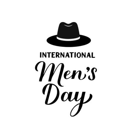 International Men s Day calligraphy hand lettering isolated on white. Holiday celebrate on November 19. Vector template for typography poster, banner, flyer, sticker, t-shirt, greeting card, etc. Vektoros illusztráció