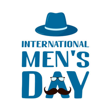 International Men s Day hand lettering isolated on white. Holiday celebrate on November 19. Vector template for typography poster, banner, flyer, sticker, t-shirt, greeting card, etc.