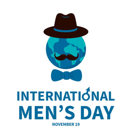 International Men s Day lettering with globe, hat and mustache. Holiday celebrate on November 19. Vector template for typography poster, banner, flyer, sticker, t-shirt, greeting card, etc.