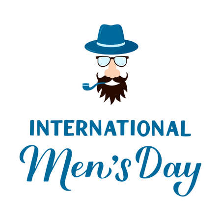 International Mens Day hand lettering with hipster isolated on white. Holiday celebrate on November 19. Vector template for typography poster, banner, flyer, sticker, t-shirt, greeting card, etc.