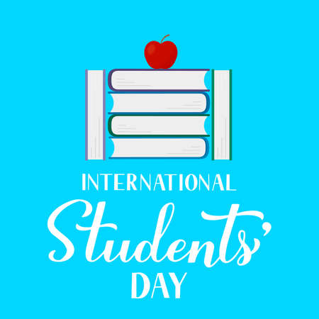 International Students Day calligraphy hand lettering, stack of books and apple. Holiday celebrate on November 17. Vector template for typography poster, banner, flyer, sticker, postcard, etc.