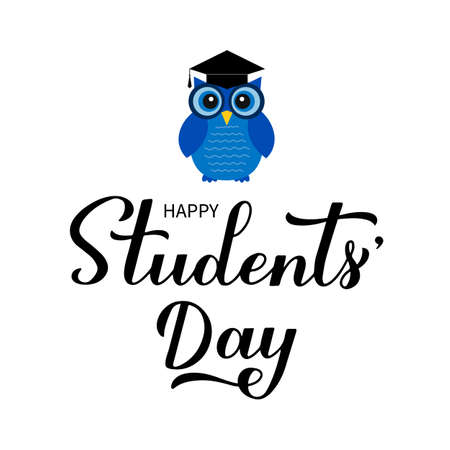 International Students Day calligraphy hand lettering with cute cartoon owl. Holiday celebrate on November 17. Vector template for typography poster, banner, flyer, sticker, t-shirt, postcard, etc. Ilustracja